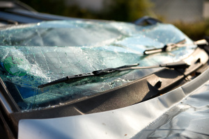 Shattered windscreen of a car in an accident